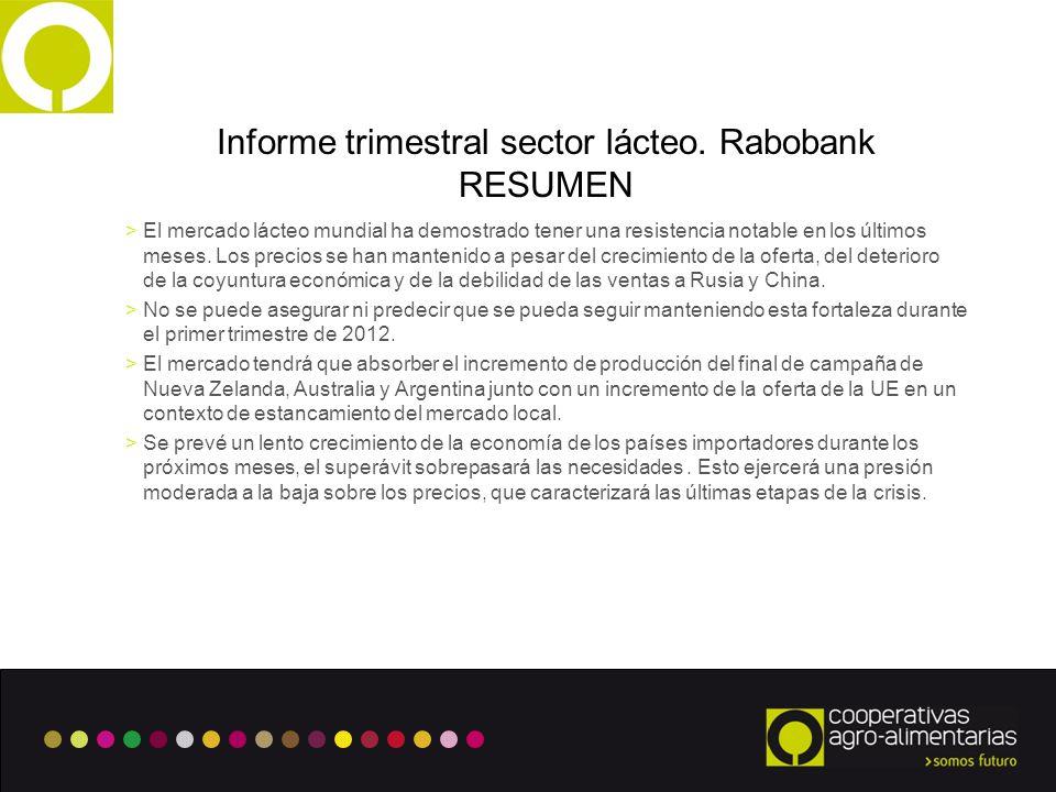 Informe trimestral sector lácteo. Rabobank RESUMEN