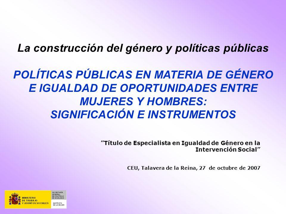 La construcción del género y políticas públicas