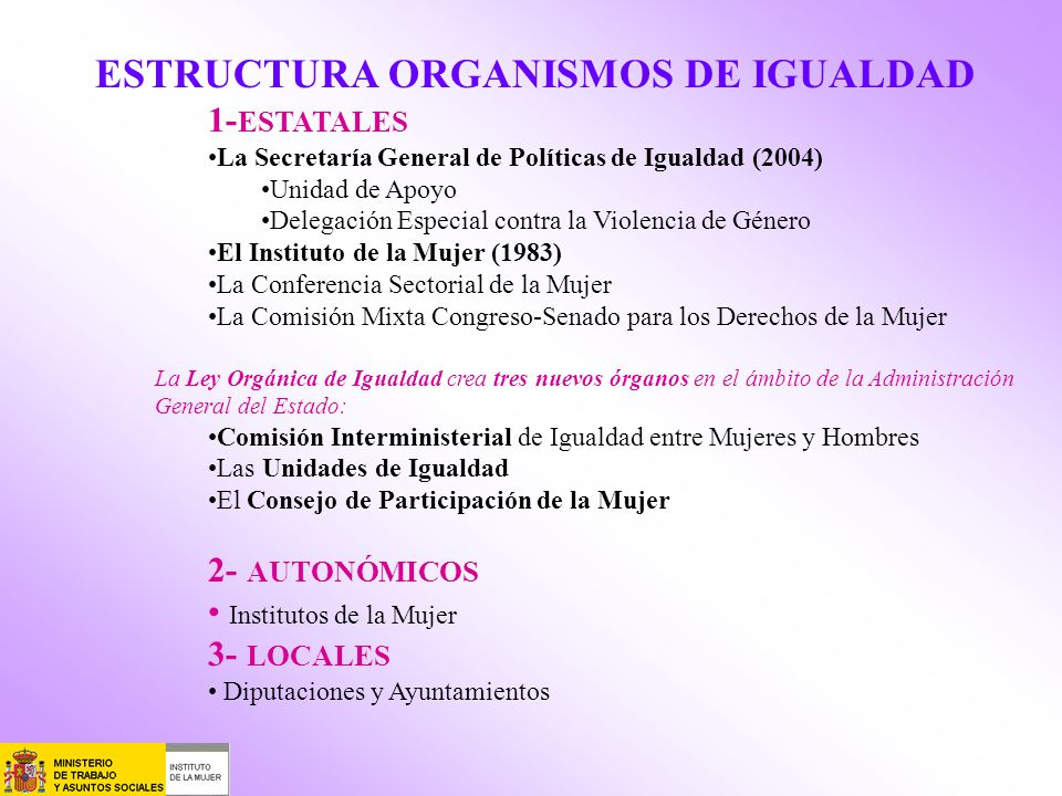 ESTRUCTURA ORGANISMOS DE IGUALDAD