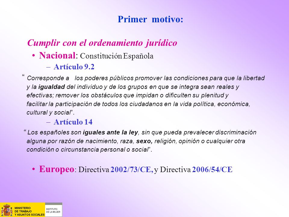 Cumplir con el ordenamiento jurídico Nacional: Constitución Española