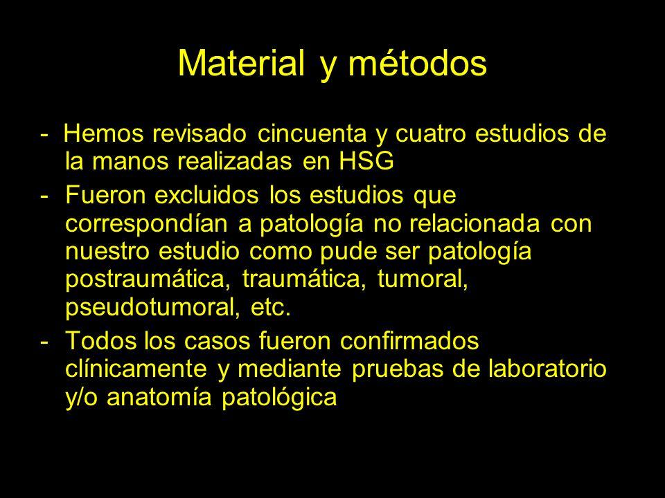 Material y métodos - Hemos revisado cincuenta y cuatro estudios de la manos realizadas en HSG.