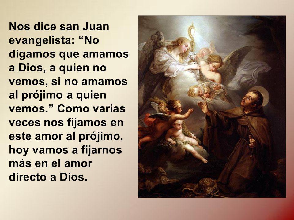 Nos dice san Juan evangelista: No digamos que amamos a Dios, a quien no vemos, si no amamos al prójimo a quien vemos. Como varias veces nos fijamos en este amor al prójimo, hoy vamos a fijarnos más en el amor directo a Dios.
