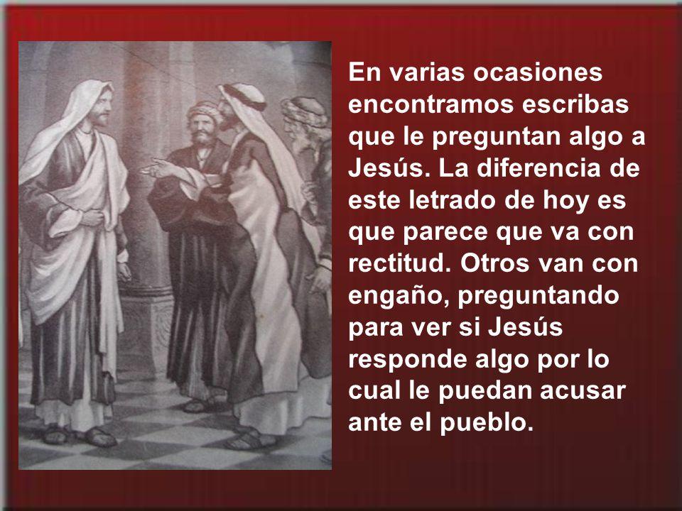 En varias ocasiones encontramos escribas que le preguntan algo a Jesús