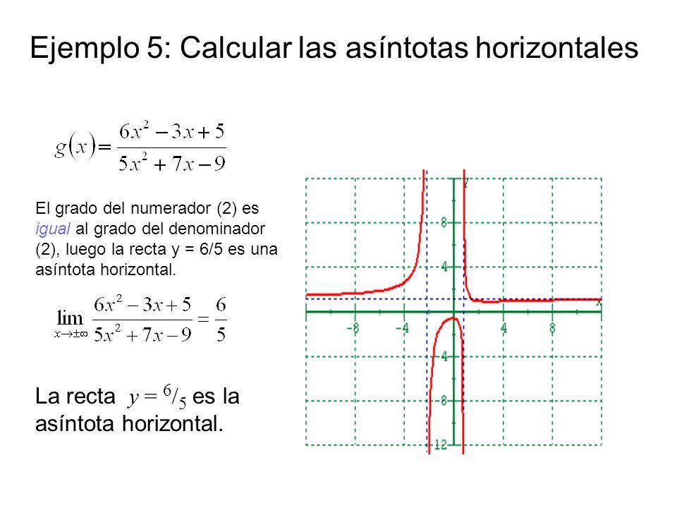 Ejemplo 5: Calcular las asíntotas horizontales