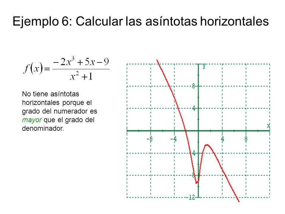 Ejemplo 6: Calcular las asíntotas horizontales