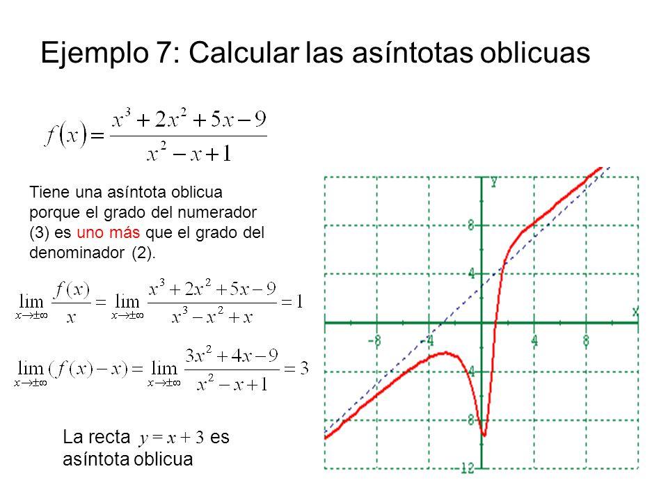 Ejemplo 7: Calcular las asíntotas oblicuas