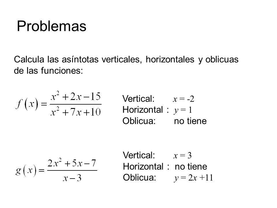 Problemas Calcula las asíntotas verticales, horizontales y oblicuas de las funciones: Vertical: x = -2.