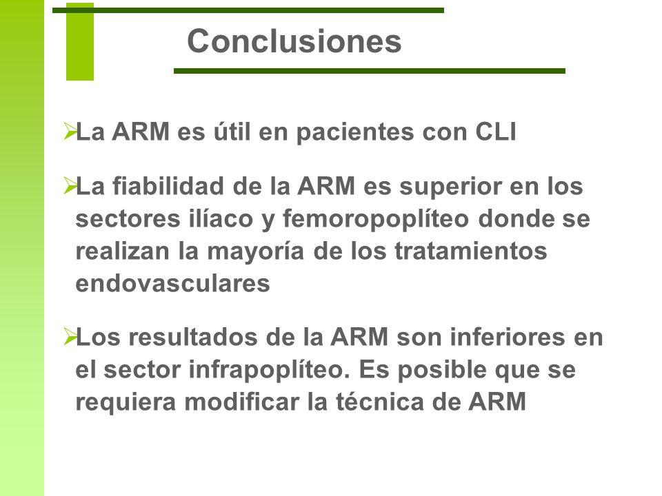 Conclusiones La ARM es útil en pacientes con CLI