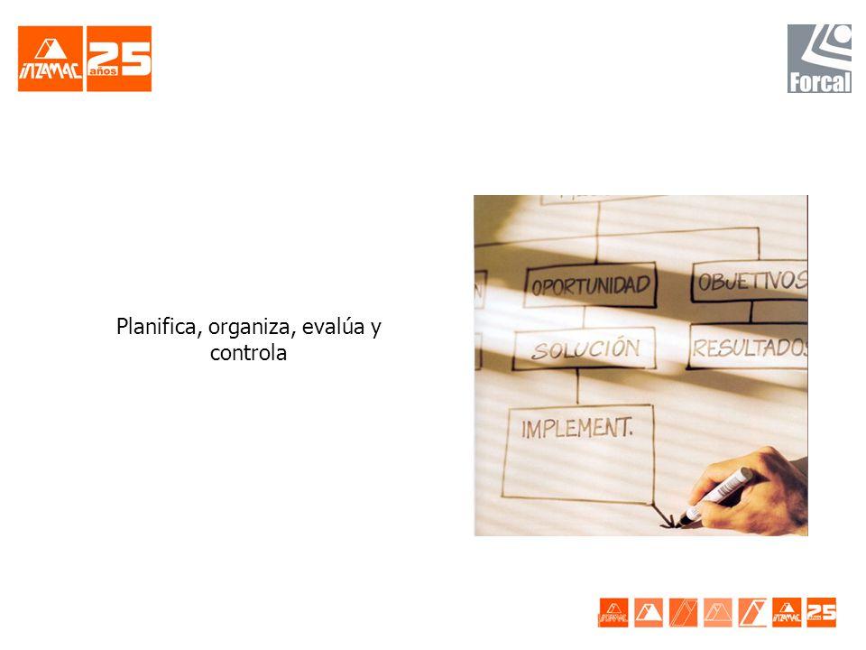 Planifica, organiza, evalúa y controla