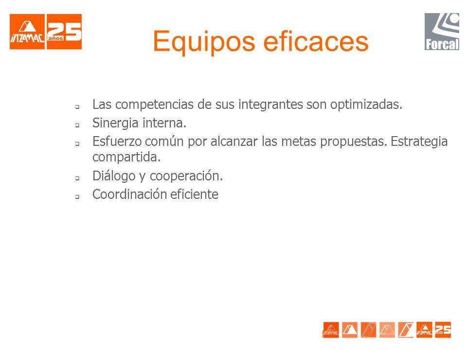 Equipos eficaces Las competencias de sus integrantes son optimizadas.