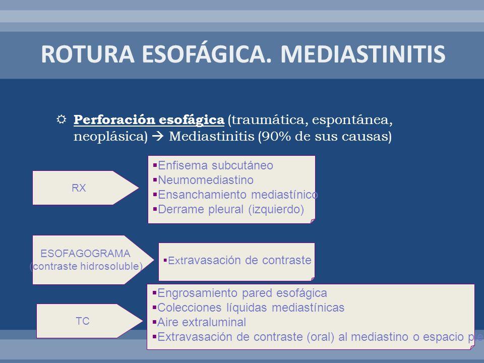 ROTURA ESOFÁGICA. MEDIASTINITIS
