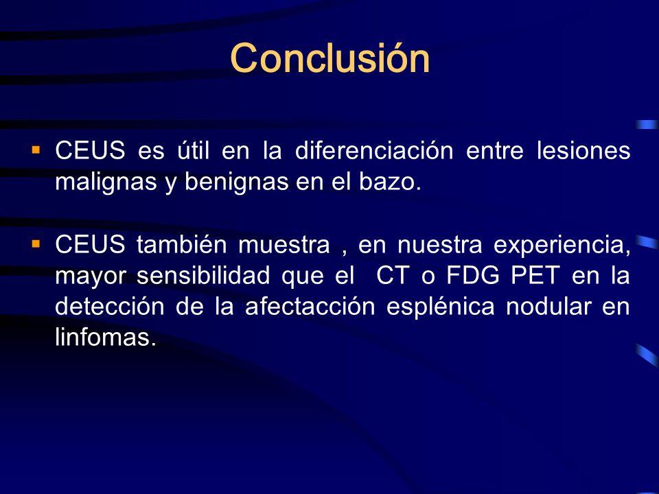 Conclusión CEUS es útil en la diferenciación entre lesiones malignas y benignas en el bazo.