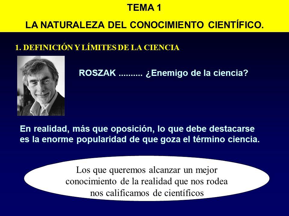 LA NATURALEZA DEL CONOCIMIENTO CIENTÍFICO.