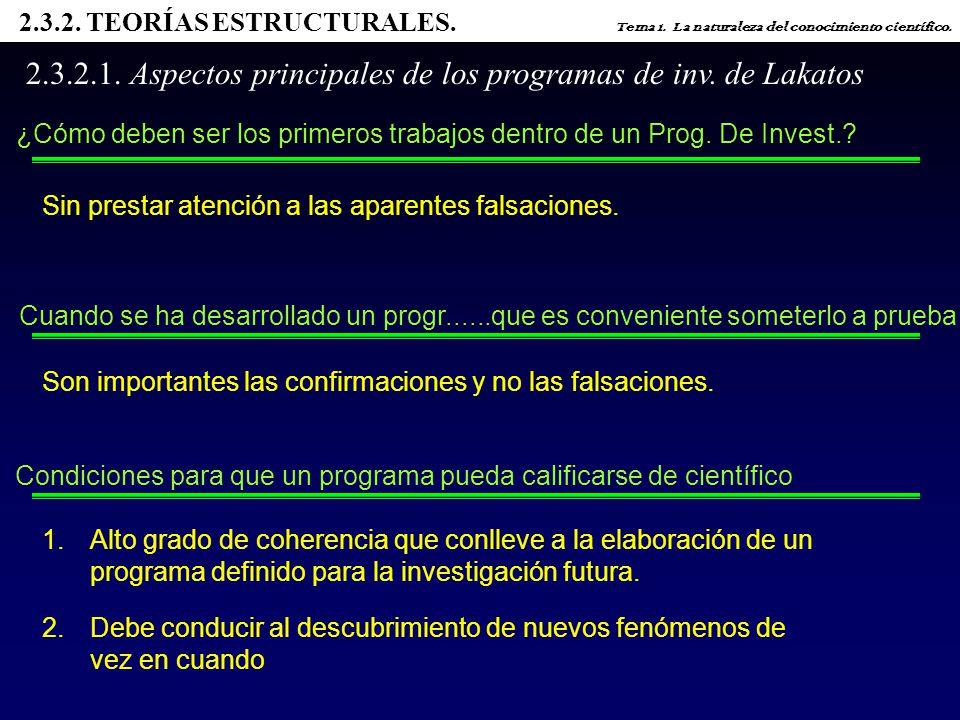 2.3.2.1. Aspectos principales de los programas de inv. de Lakatos