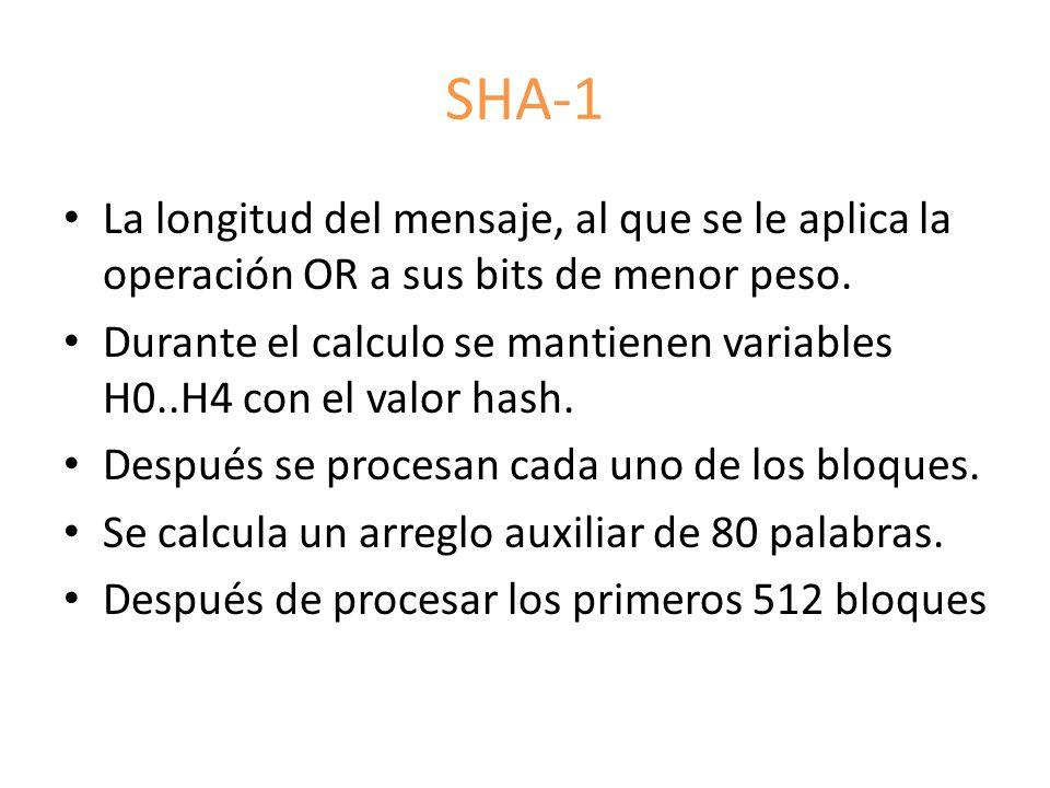 SHA-1 La longitud del mensaje, al que se le aplica la operación OR a sus bits de menor peso.