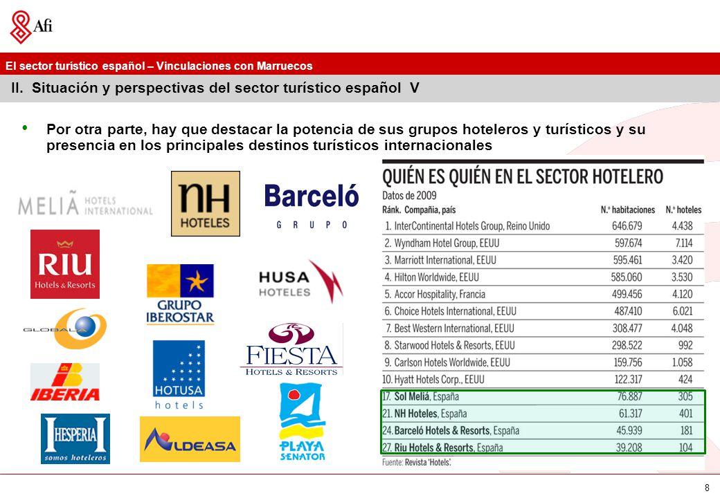 II. Situación y perspectivas del sector turístico español V