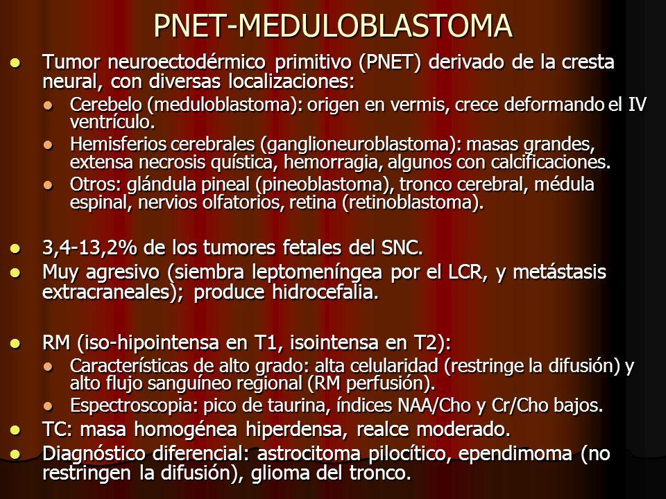 PNET-MEDULOBLASTOMATumor neuroectodérmico primitivo (PNET) derivado de la cresta neural, con diversas localizaciones: