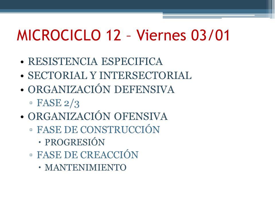 MICROCICLO 12 – Viernes 03/01 RESISTENCIA ESPECIFICA
