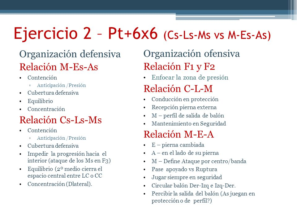 Ejercicio 2 – Pt+6x6 (Cs-Ls-Ms vs M-Es-As)
