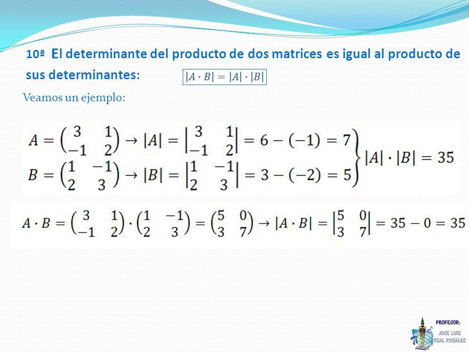 10ª El determinante del producto de dos matrices es igual al producto de sus determinantes: