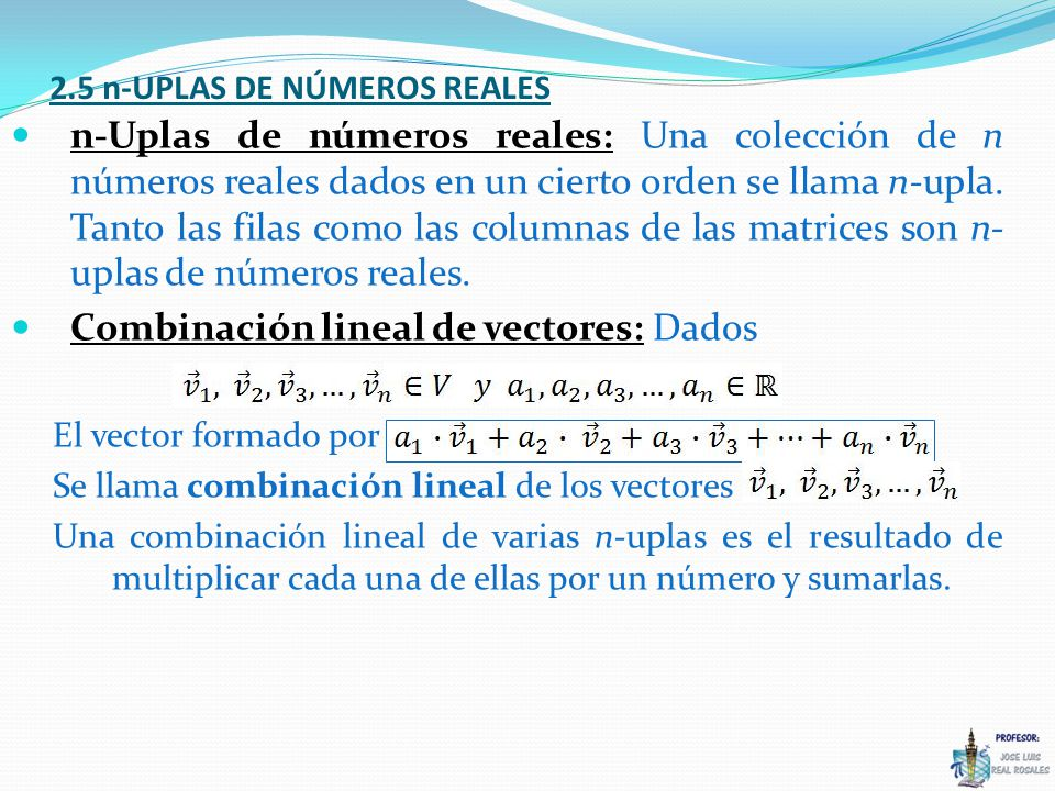 2.5 n-UPLAS DE NÚMEROS REALES