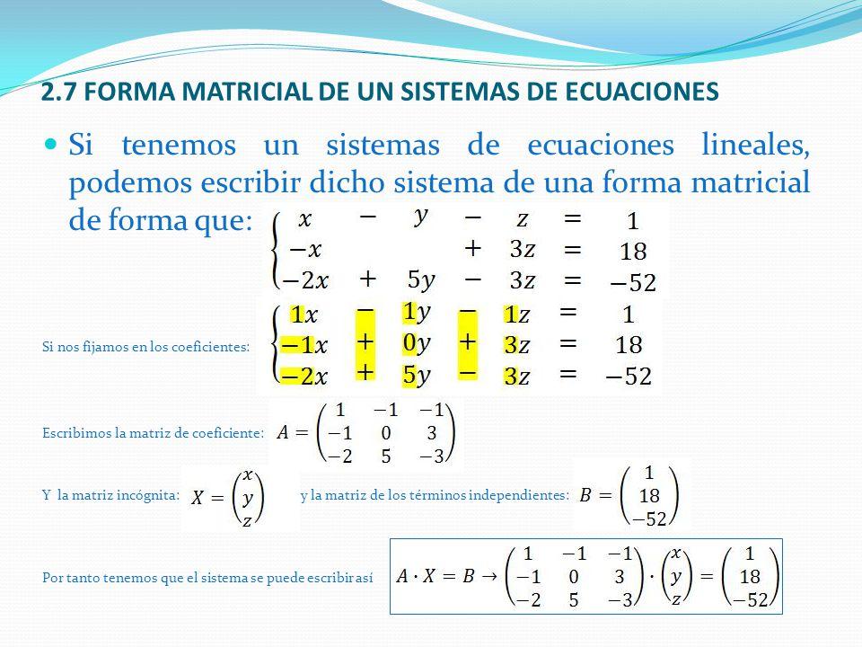 2.7 FORMA MATRICIAL DE UN SISTEMAS DE ECUACIONES