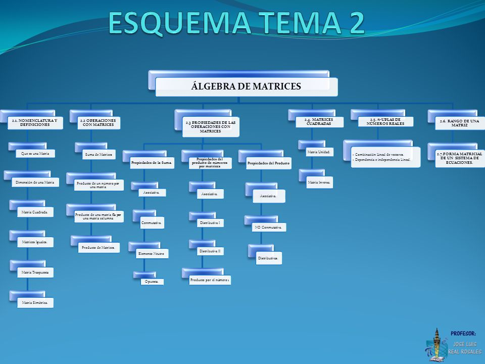 ESQUEMA TEMA 2 ÁLGEBRA DE MATRICES 2.1. NOMENCLATURA Y DEFINICIONES