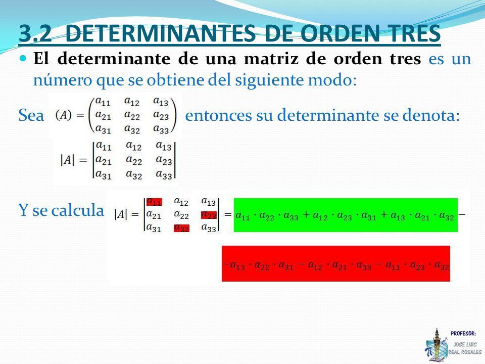 3.2 DETERMINANTES DE ORDEN TRES