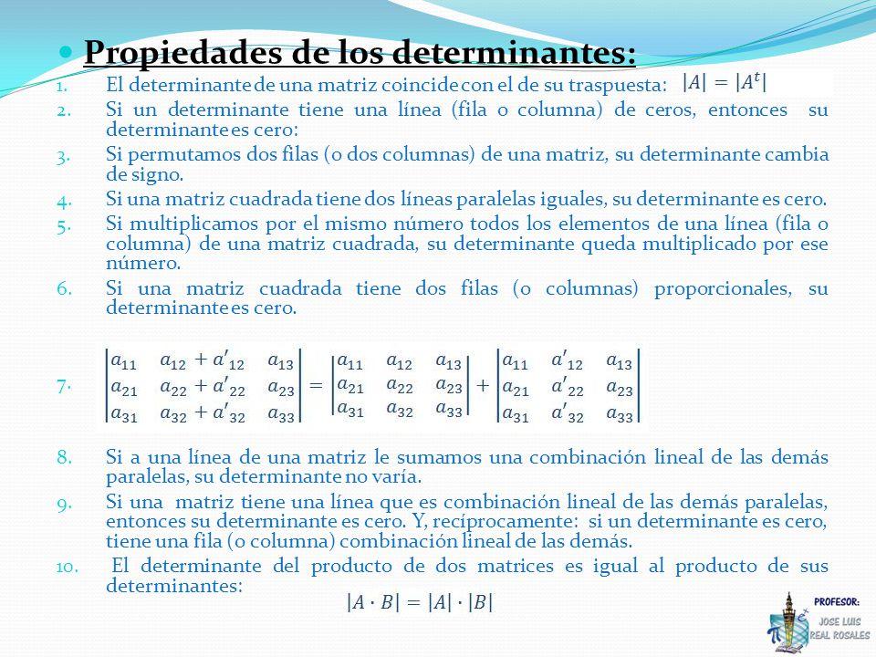 Propiedades de los determinantes: