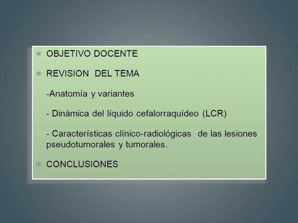 OBJETIVO DOCENTE REVISION DEL TEMA. -Anatomía y variantes. - Dinámica del líquido cefalorraquídeo (LCR)