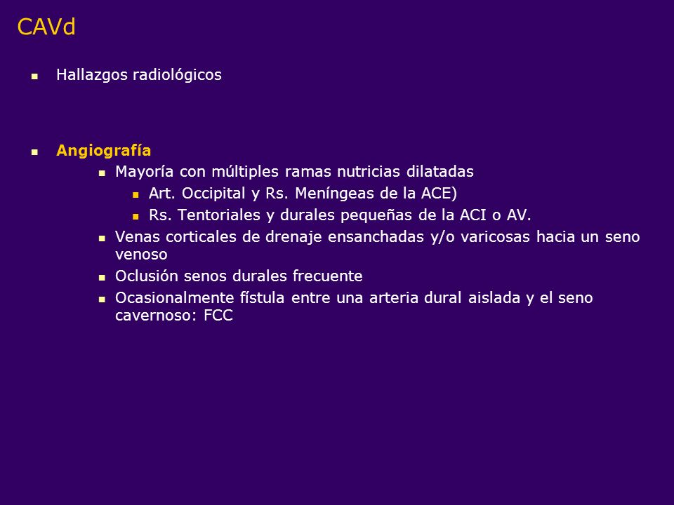 CAVd Hallazgos radiológicos Angiografía