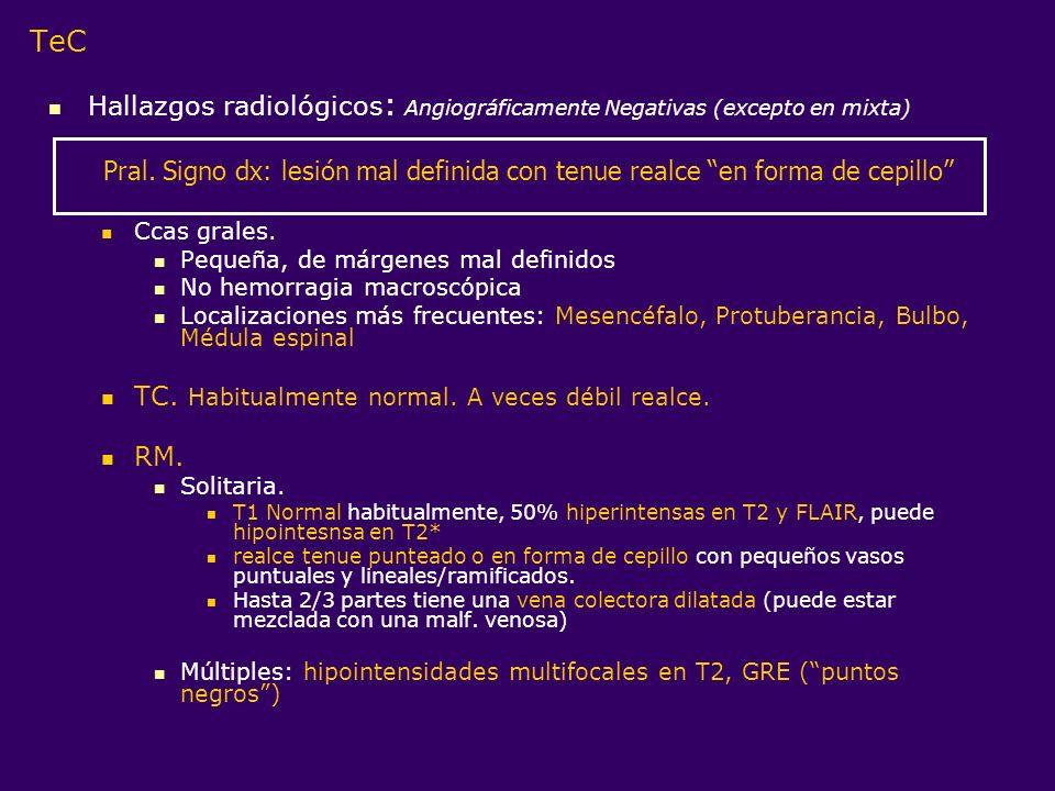 TeC Hallazgos radiológicos: Angiográficamente Negativas (excepto en mixta) Ccas grales. Pequeña, de márgenes mal definidos.
