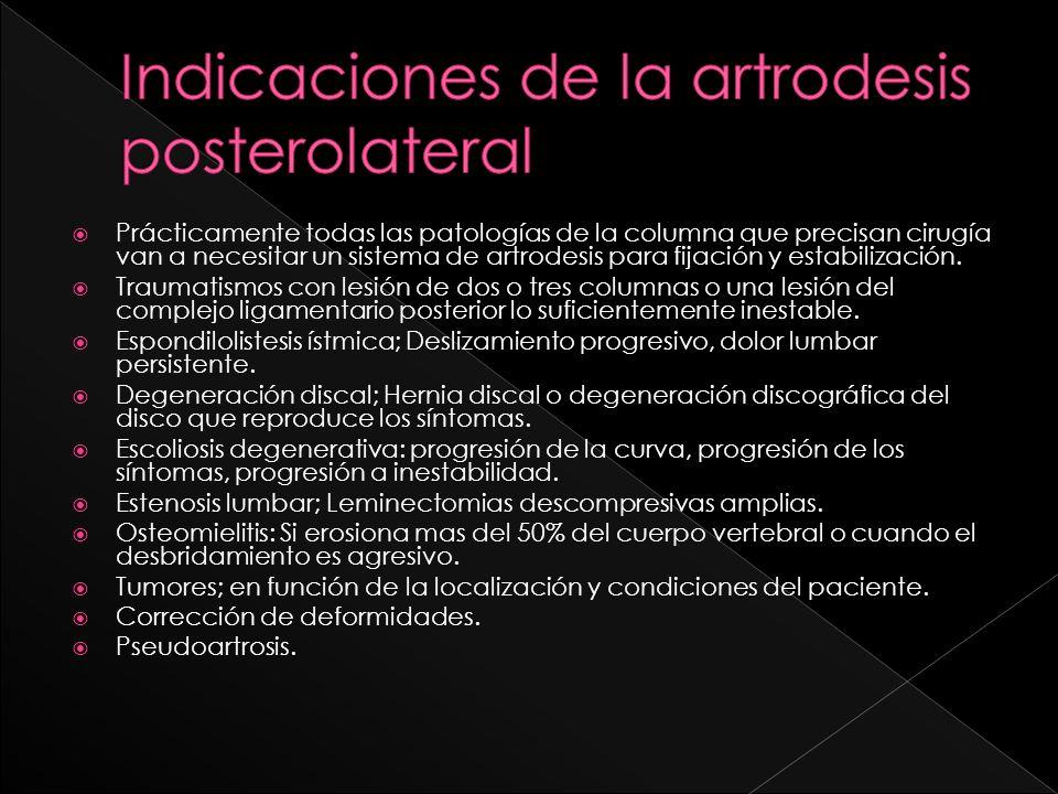Indicaciones de la artrodesis posterolateral