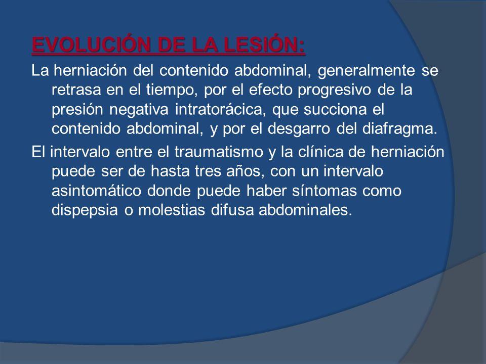 EVOLUCIÓN DE LA LESIÓN: