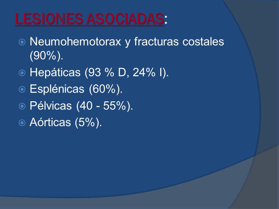 LESIONES ASOCIADAS: Neumohemotorax y fracturas costales (90%).