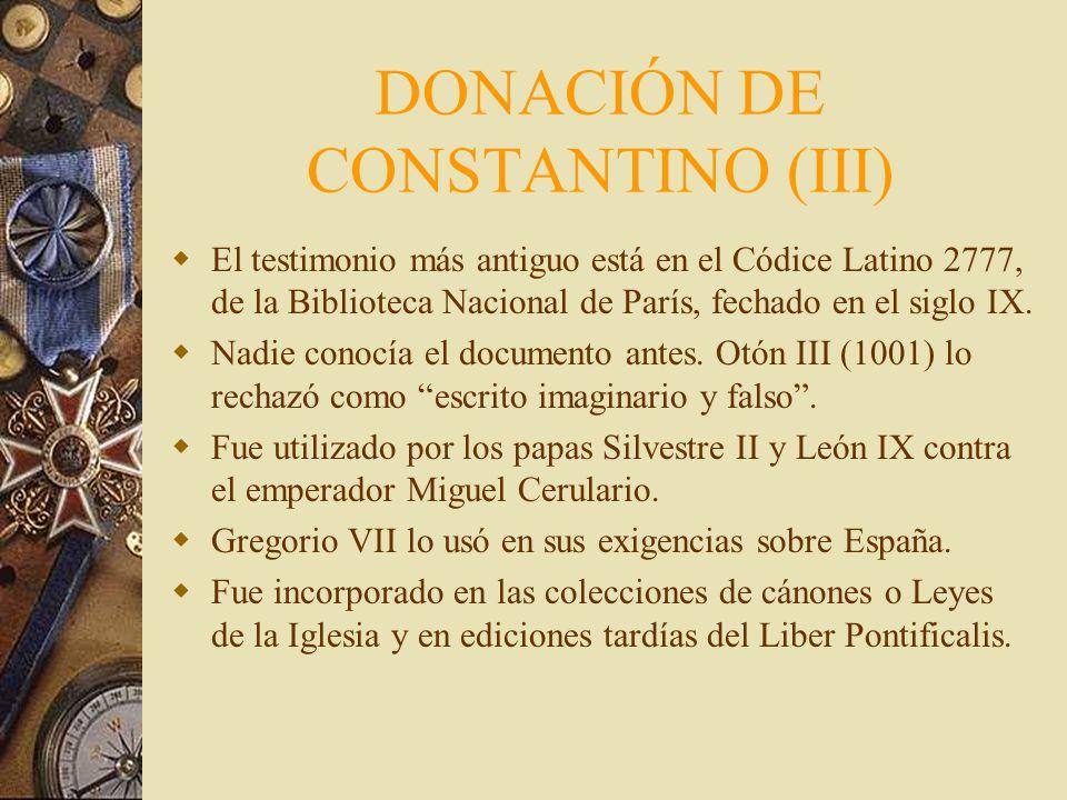 DONACIÓN DE CONSTANTINO (III)