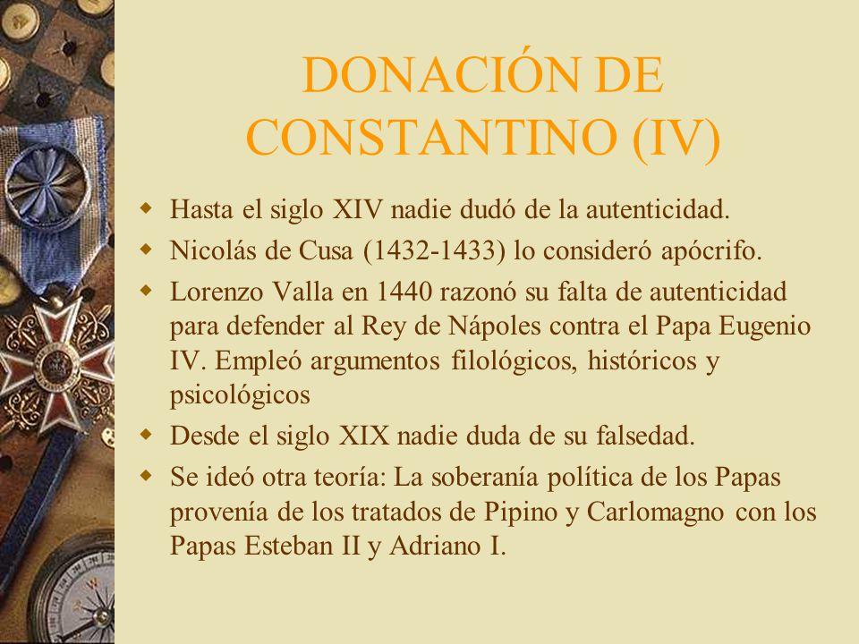 DONACIÓN DE CONSTANTINO (IV)