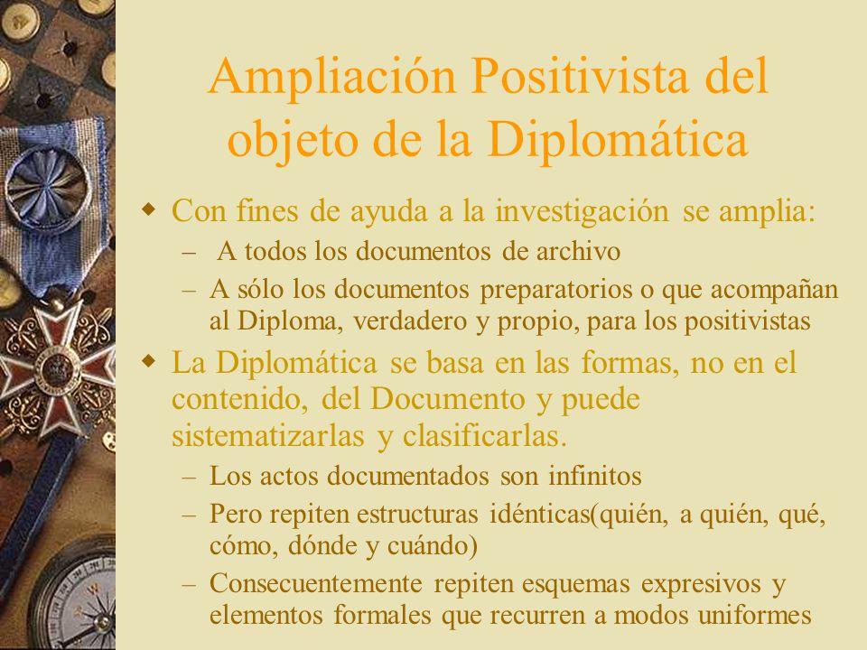 Ampliación Positivista del objeto de la Diplomática