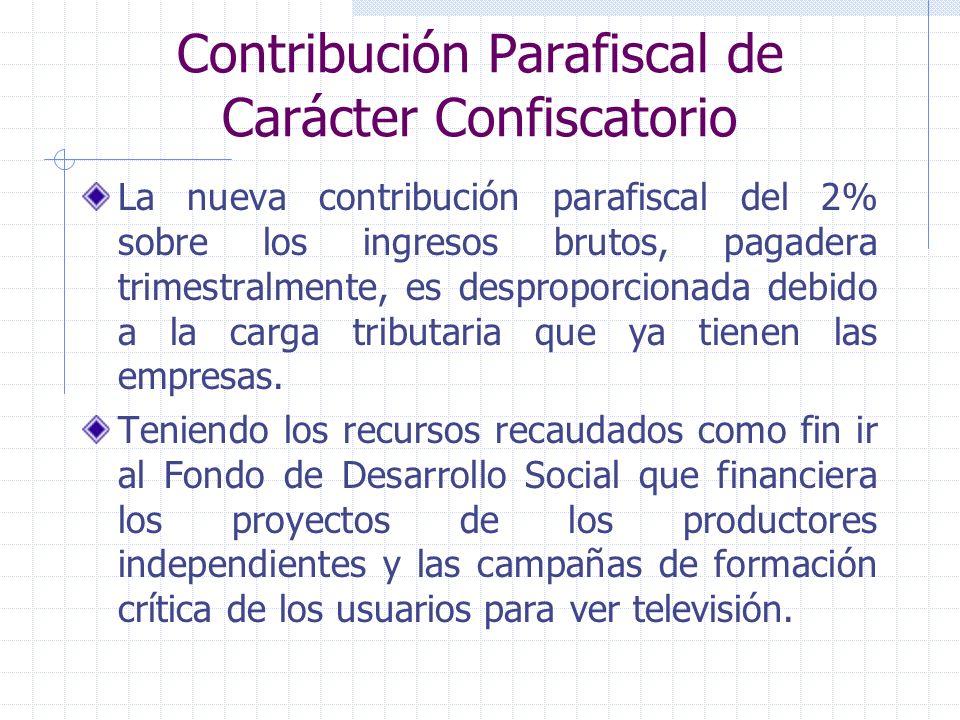 Contribución Parafiscal de Carácter Confiscatorio