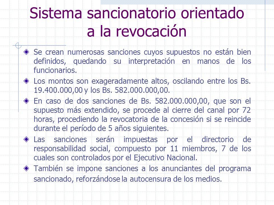Sistema sancionatorio orientado a la revocación