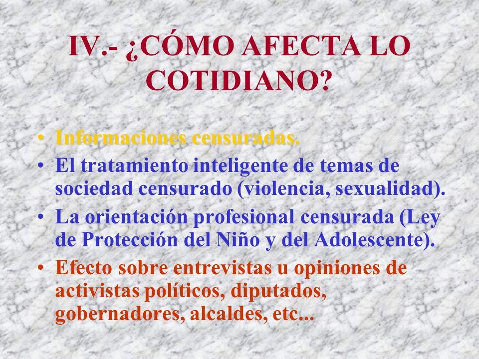 IV.- ¿CÓMO AFECTA LO COTIDIANO