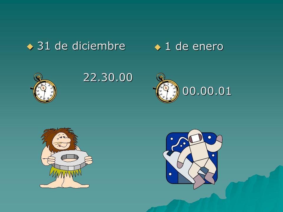 31 de diciembre 22.30.00 1 de enero 00.00.01