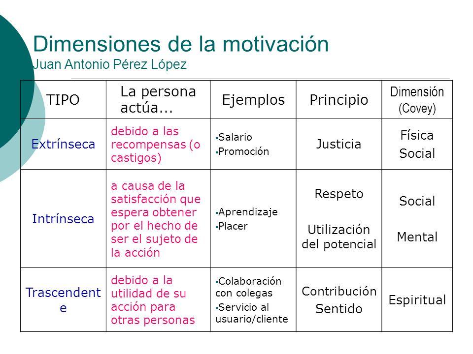 Dimensiones de la motivación Juan Antonio Pérez López
