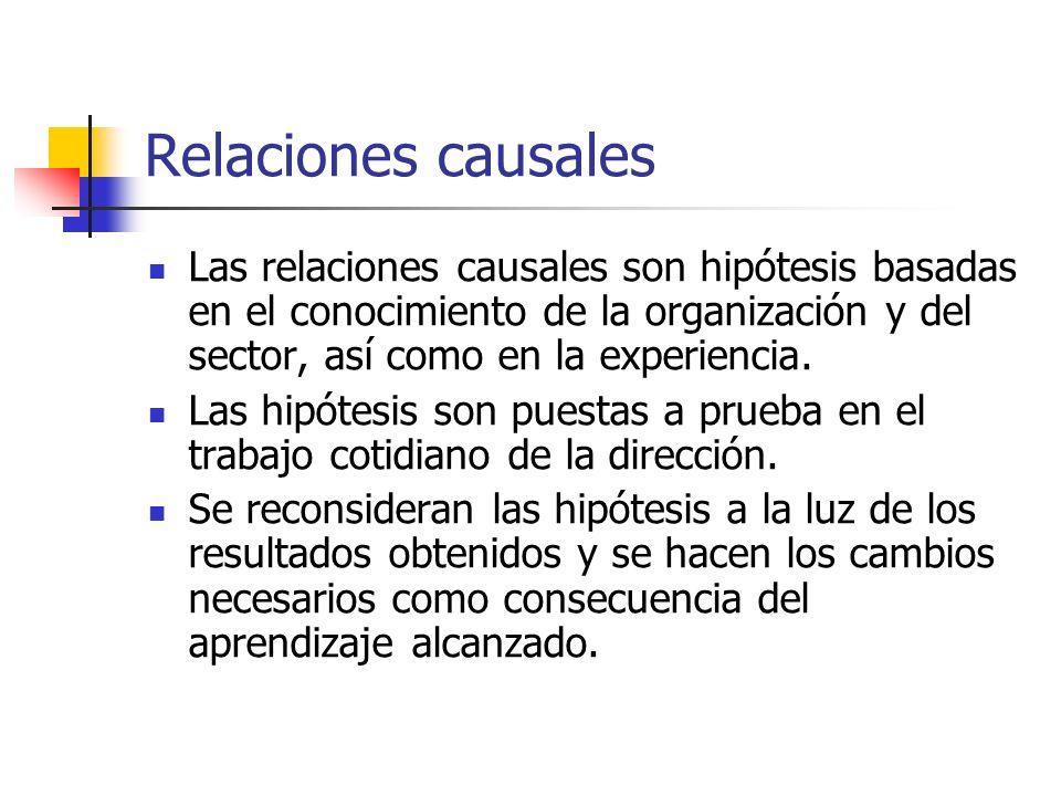 Relaciones causales Las relaciones causales son hipótesis basadas en el conocimiento de la organización y del sector, así como en la experiencia.