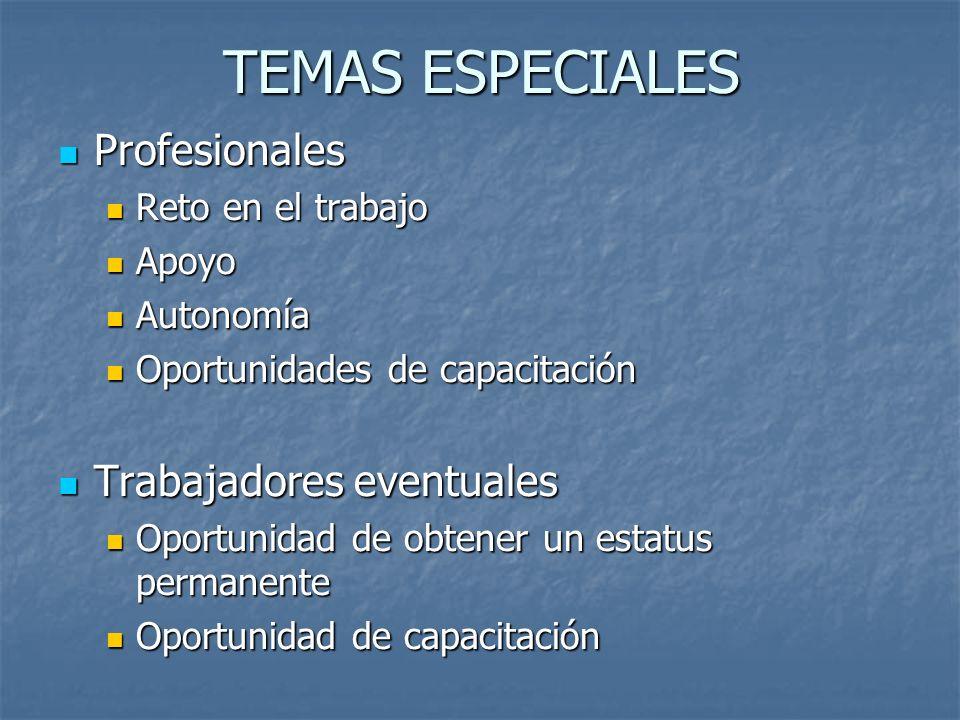 TEMAS ESPECIALES Profesionales Trabajadores eventuales