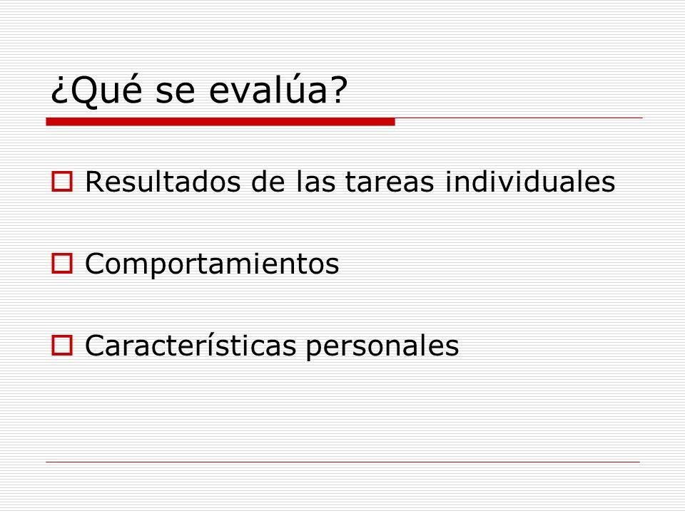 ¿Qué se evalúa Resultados de las tareas individuales Comportamientos