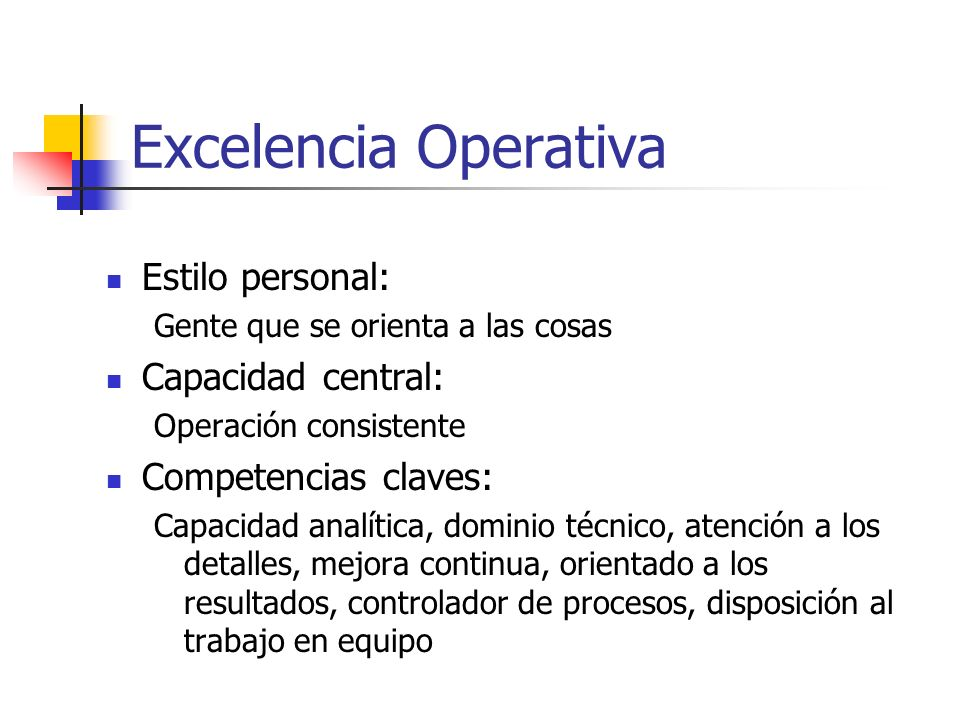 Excelencia Operativa Estilo personal: Capacidad central: