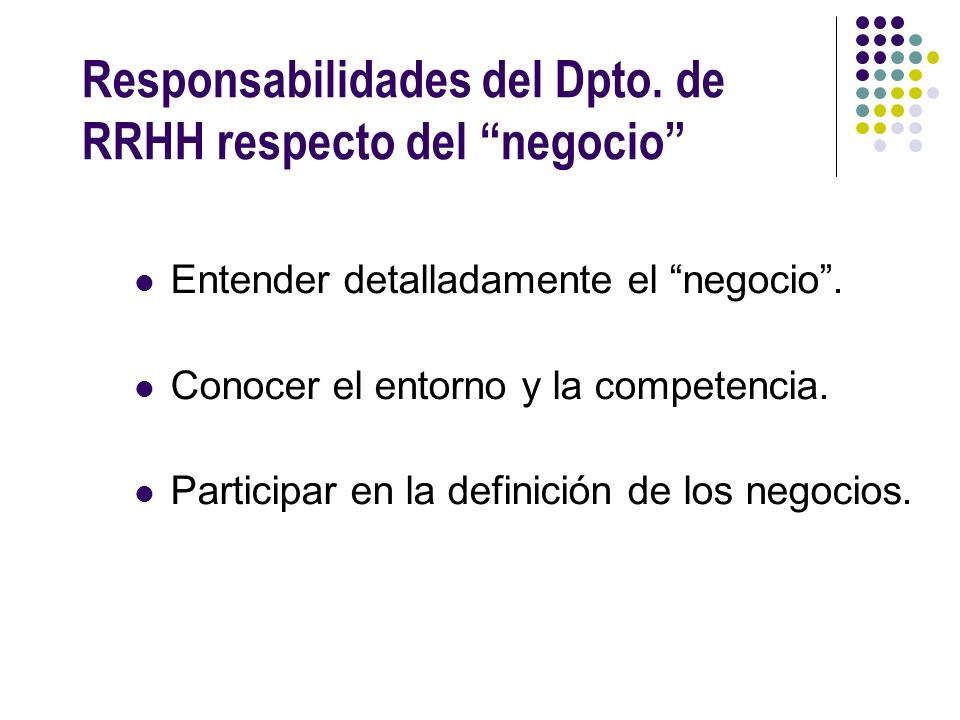 Responsabilidades del Dpto. de RRHH respecto del negocio
