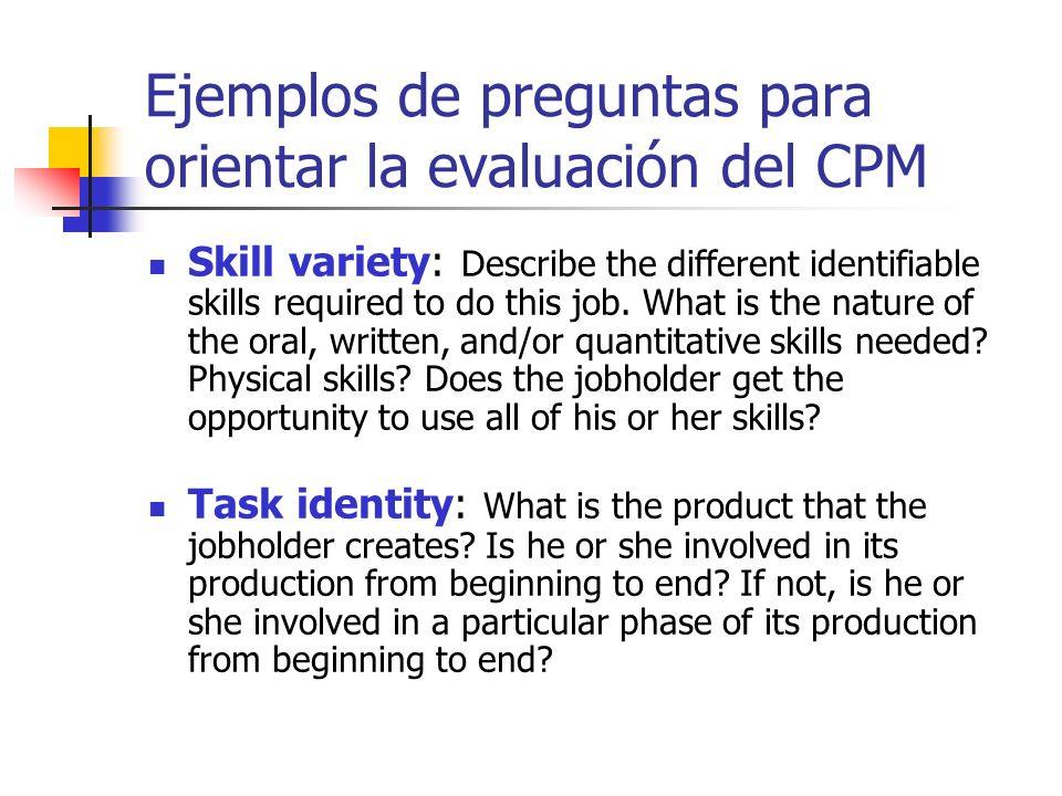 Ejemplos de preguntas para orientar la evaluación del CPM