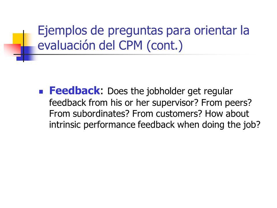 Ejemplos de preguntas para orientar la evaluación del CPM (cont.)